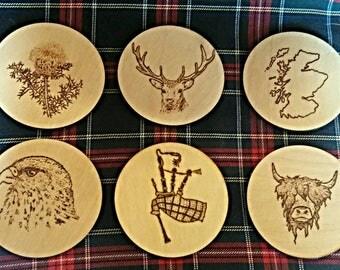 Luxury Scottish Wooden Coaster Set