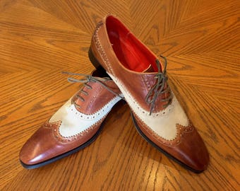 One-of-a-Kind Men's Two Tone Brogue Shoes Made in Italy