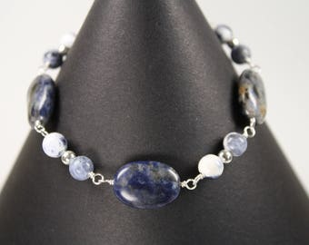 Blue Sodalite and Silver Beaded Bracelet Wire Wrapped with Silver