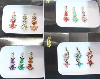 Packs Of Colored Long Face Bindi Stickers,Bridal Bindis Stickers,Long Bindis,Fashion Bindis,India Bindis,Wedding Bindi,Self Adhesive Sticker