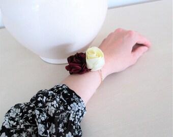 Bracelet with Burgundy/ivory-wedding, bridesmaid, witness-retro, romantic and Bohemian spirit.