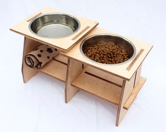 Wooden Dog Bowl Stand With Bowls