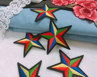 Colorful pentagram patch /embroidered patch /iron on /sew on jacket, bag, backpack ,shoes,hat,/applique/DIY