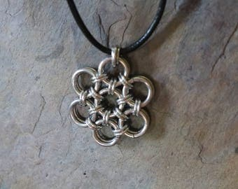 Silver chain maille necklace