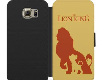 Disney The Lion King simplistic flip wallet phone case for iphone 4 5 6 7, Samsung s2 s3 s4 s5 s6 s7 S8 S8 plus and more