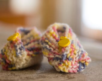 Newborn Slippers, Hand Knitted, Ducky Buttons, Yellow, Pink, Purple, White, Baby Clothes