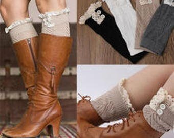 Ladies boot cuffs, socks, pair boot cover inserts, knitted boot cuff, lace button detail
