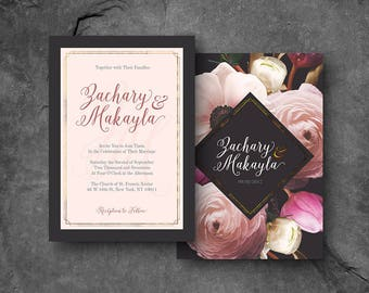 Modern Floral / Black, Blush & Gold Invite / Printable Wedding Invitation Package (Black)