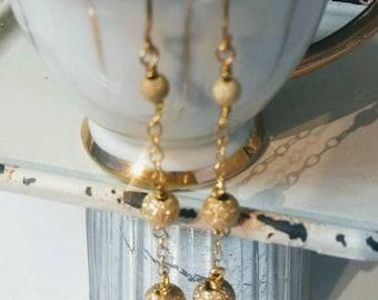 Gold Triple Balls Shimmer Drop Gold Earrings