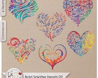 Bold Splatter Hearts 02, Transparent PNG , PNG Elements, Digital Scrapbook | Clipart | Printable Designers Resources