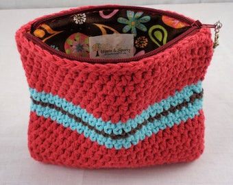 Crochet Cosmetic Zippered Lined Tote Bag