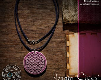 Flower of Life  - Handmade Ceramic Pendant