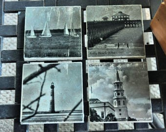 Charleston Black and White Photo Art Tile Coasters set of 4