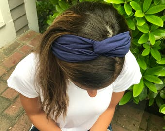 Twisted Turban Headband - Navy