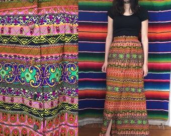 60s Majestic Mosaic Quilted Psychedelic Maxi Skirt Size XS Small