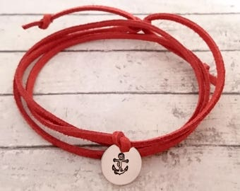 hand stamped symbol wrap bracelet, 13mm pendant on a faux suede cord with adjustable knots