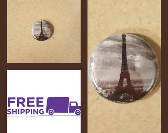 """1"""" Eiffel Tower Button Pin or Magnet, FREE SHIPPING & Coupon Codes"""