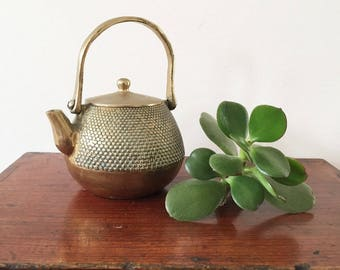 Vintage miniature brass teapot - can be used as a plant holder - succulent planter - bohemian home decor