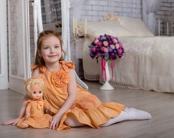 """A set of identical dresses for girls and Dolls """"Sofia"""""""
