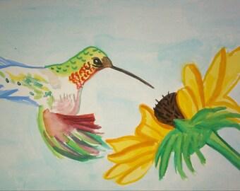 Humming bird and flower Original 4X6 watercolor painting