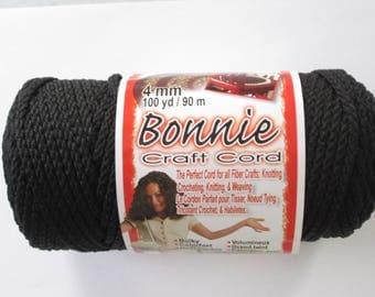 Bonnie Macrame Craft Cord 4mm 100 Yards BLACK