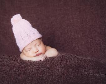 baby girl crochet pink hat , pink beanie , baby girl hat ,wool hat ,baby hat