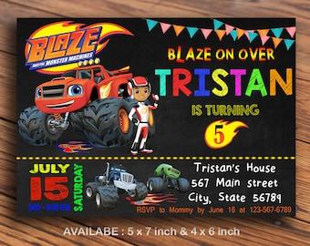Blaze Invitation / Blaze Birthday Invitation / Blaze And The Monster Machines Invitation / Birthday Invitation / Invitation