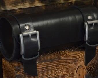 Handmade Leather Tool Roll Black
