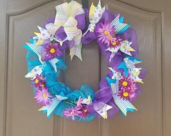 Summer Wreath, Floral Wreath, Front Door Wreath, Deco Mesh Wreath,  Wreath