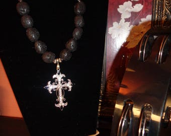 Black Lava Stone with Rhinestone Cross Pendant.