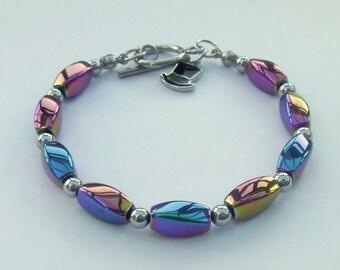 Rainbow haematite bracelet