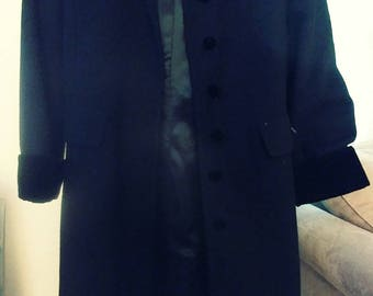 Black wool and velvet opera coat by Halston