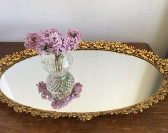 Vintage Floral Detailed Brass and Mirror Vanity Tray