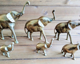 Brass Elephants - Set of 6 | Brass Decor | Brass Animal Collectibles