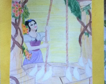 Snow White at the well drawing