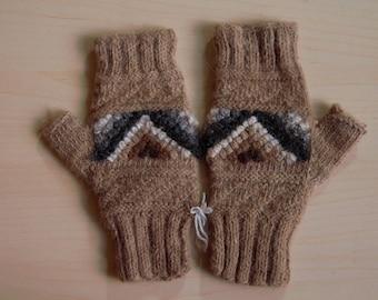 Handmade Peruvian Alpaca Finger-less Winter Gloves