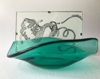 Mermaid with Green glass ocean wave bowl