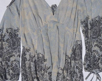 Blue floral print, lined, swing dress, US women's S