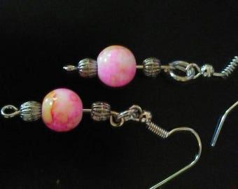 Pink tye dye earrings