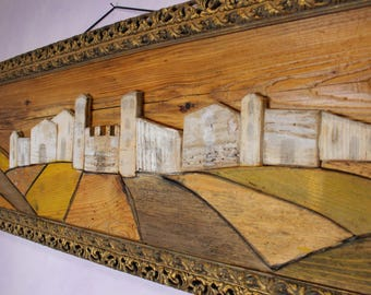 Country landscape on wood with antique frame