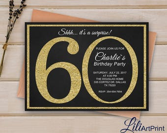 60th Birthday Invitation, Gold Invitation,  Gold Glitter Birthday invite, Digital file 9