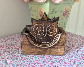 Wooden Owl Coaster Set in holder (Set of 6)