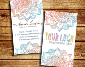 Business Cards, Mandala Custom Business Cards, Consultant Business Card, Personalized Digital File,  PRINTABLE