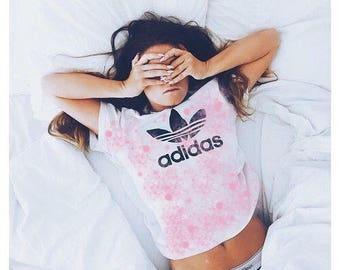 Pink Splattered White Adidas T-Shirt