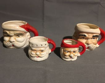 Vintage Set of 4 Ceramic Santa Claus Novelty Decorative Mugs Hand Painted Made in Japan