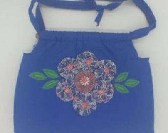 Handmade Blue Cotton Lined Purse / Shoulder Bag w/ Pockets & Yo-Yo Flowers.