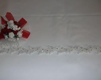 White Silver/Rhinestone Beaded Corded Leaf Lace