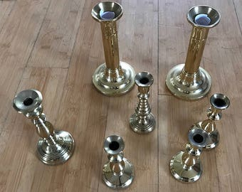 7 Baldwin Brass Candlesticks-Assorted Sizes-No Dings or Scratches-Ready to Ship and Easy to Buy