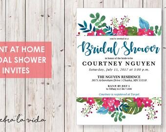 Bridal Shower Invitation. Instant Download. Printable Bridal Shower Game. Blue and Pink Flowers. - 04