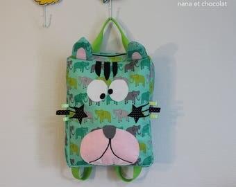 Sac à dos enfant, sac d'école, sac à dos maternelle, sac chat, sac vert, sac pour l'école maternelle, éléphants, sac enfant
